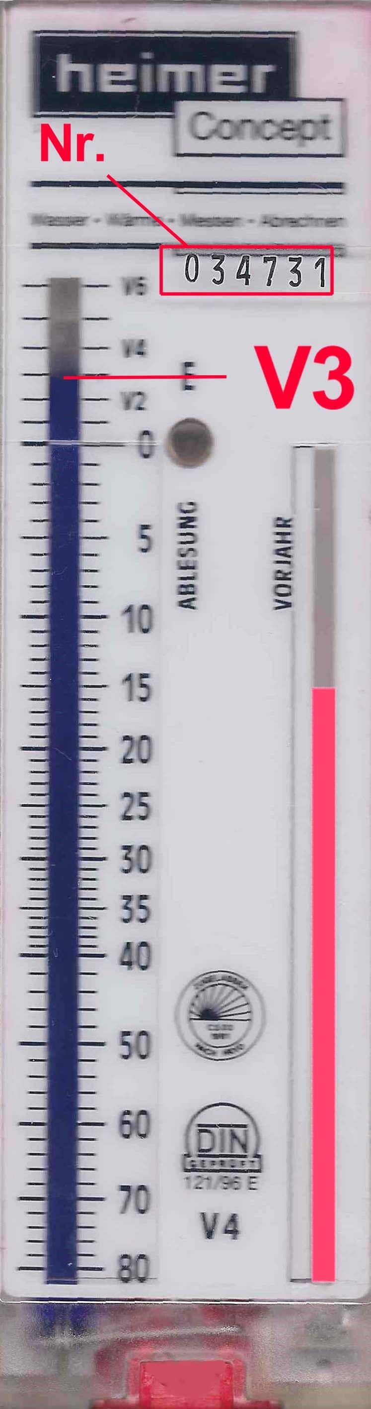 Ablesung bei Heizkostenverteilern nach dem Verdunstungsprinzip